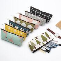 Canvas Pencil Case Stationery Zipper Storage Office School Supplies Makeup Bags