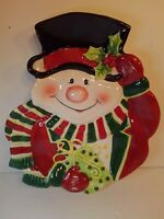 Fitz and Floyd Canape Plate Merry Christmas Snowman Decorative Plate