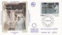 Enveloppe maximum 1er jour FDC Soie 1992 - Tableau Paul Delvaux