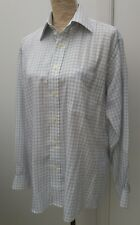 "Pierre Cardin Mens Size 15"" Blue White Check Shirt Casual Wear Long Sleeve"