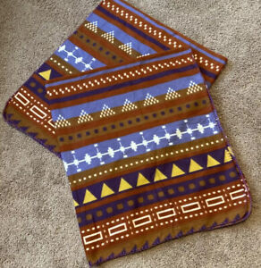 Set Throw Blanket Southwestern Print Browns Blues Yellow Fleece 48 1/2 X 59 1/2