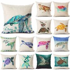 Linen Sea turtle Printed Throw Pillowcase Ocean Style Cushion Cover Home Decor
