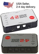 4input x 2output Digital Optical SPDIF TOSlink Audio Selector Switch Splitter HD