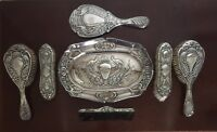 STERLING SILVER ANTIQUE VANITY SET PEACOCK MOTIF 1903  7 Pieces STUNNING!!!