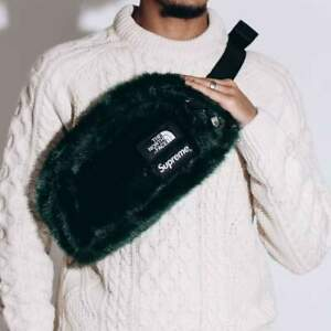Supreme /The North Face faux fur waist bag-Night Green New+tags