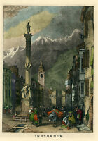 """5"""" Antique 1800s Hand Colored Lithograph Europe Innsbruck WR Smith Austria"""