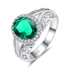 Fashion Oval Cut Emerald & White Topaz Gemstone Silver 925 Ring Size 6 7 8 9 New