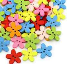 100PCs Wood Buttons Sewing Scrapbooking Flowers Shaped 2Holes Mixed Colors Small