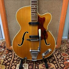 Vintage 1959 Hofner President Natural Electric Acoustic Guitar w/ Gibson Vibrola