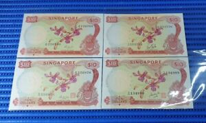 4X Singapore Orchid Series $10 Note Dollar Banknote Currency ( Lot of 4 Pieces )