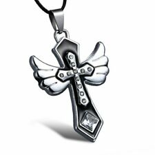 Charm Punk Rock Cross Pendant Necklace Leather Chain Stainless Steel Jewelry Hot