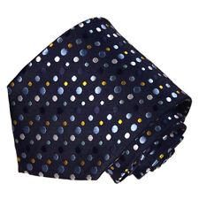 Men's dark blue and yellow silver dott designed woven tie
