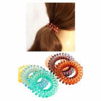 3pcs Hair Ties TPU Stretch Plastic Band Coil Spiral Phone Cord Scrunchies