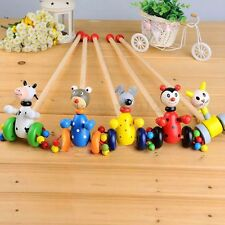 Wooden Bear Dog Animal Push Pull Along Walking Toy Toddler Baby Children Kids