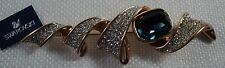 Signed Swan Swarovski Large Faceted Sapphire and Pave' Brooch Pin