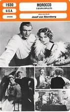 FICHE CINEMA : MOROCCO - Cooper,Dietrich,Sternberg 1930 Cœurs Brûlés