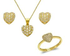 14K Solid Yellow White Gold CZ Heart Stud Earrings Pendant Ring Jewelry Set