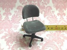 Dollhouse Miniature Furniture Office/Home/Work Grey Velvet Task Chair 1:12