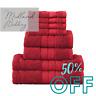 RED LUXURY 8 PIECE TOWELS BALE SET 100% EGYPTIAN COTTON FACE,HAND & BATH TOWEL