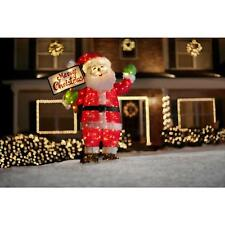 60 in. LED Lighted Tinsel Santa w Merry Christmas Sign Outdoor Christmas Decor