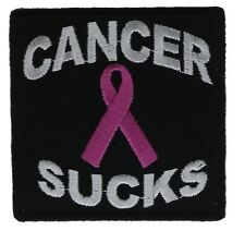 Pink Ribbon Cancer Sucks Embroidered Patch IVAN3276 F2D18M