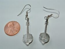 Banjo Charm Earrings silver plated long dangle musician gift USA-made lead-free