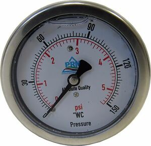 "New PRM 0-150"" WC/ 0-5 PSI Pressure Gauge 2.5"" SS Case ¼"" NPT Brass Back Connect"