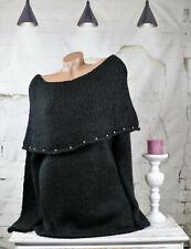 Damen trendy Mohair Strickpullover Tunika mit Carmenausschnitt Perlen schwarz