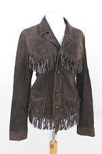 Ralph Lauren Brown Leather Fringe Suede Jacket Coat Button Womens Medium M 12