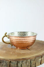 Handmade Copper Shaving Bowl Mug Cup with brass handle for Shaving Brush vintage