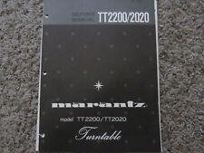 New listing Marantz Tt2200 Tt2020 Stereo Turntable Phono Original Service Repair Manual
