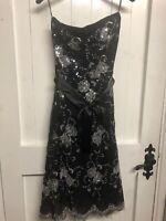 Little Black Party Dress Ladies Women's Size  8 Strapless  Sequin Detail