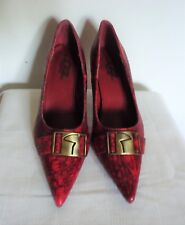 GF Glamour Original Red Faux Reptile Skin High Heel Pumps  6