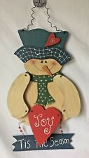 Snowman Wooden Cutout Wall Door Hanging for Christmas Winter Joy Tis the Season