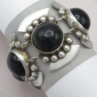 Vtg Early 1940's Mexican Sterling Silver Onyx Glass Wide Heavy 85gram Bracelet