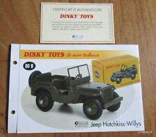 DINKY TOYS ATLAS / FICHE + CERTIFICAT JEEP HOTCHKISS-WILLYS  REF 80 B
