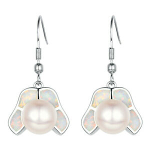Simple Lady White Pearl simulated Opal Silver Dangle Hook Earring Jewelry