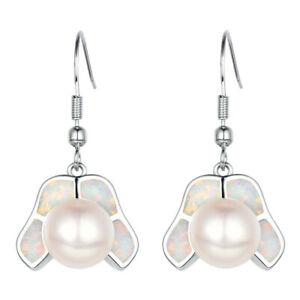Women'S Lady White Pearl simulated Opal Silver Dangle Hook Earring Jewelry
