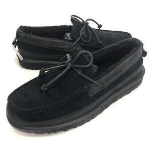 UGG Australia Mens Dex Lace Black Slip-On Moccasin Loafer Size 11.5 New In Box