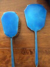 Vintage Vanity Set Brush and Hand Mirror blue