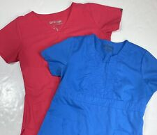 New listing Greys Anatomy Scrub Tops Sz Medium Womens (Lot Of 2) Shirts Light Blue & Pink
