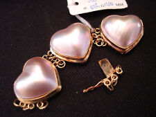 """2 3/4"""" L 14K YELLOW GOLD / HEART SHAPED / CHAMPAGNE COLOR MABE PEARL CLASP"""