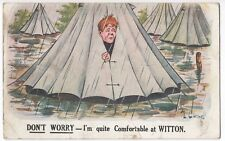 WW1 Comic PPC 1917 PMK, Don't Worry, I'm Quite Comfortable at Witton, By Carnell