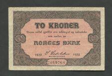 More details for norway  2 kroner  1922  p14b  fine  world paper money