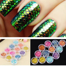 12pcs Nail Sequins Glitter Mermaid Scale Nail Art Stencil Tips Manicure Stickers