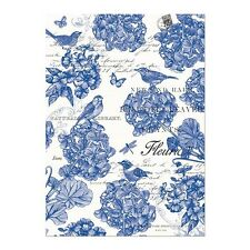 Michel Design Works Cotton Kitchen Tea Towel Indigo Cotton Blue Floral Birds NEW