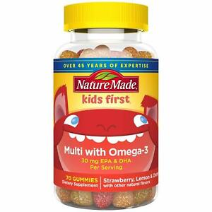 Nature Made Kids First Multi + Omega-3 Gummies, 70 Count for Daily Nutritional