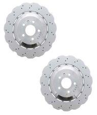 Pair Set of 2 Rear OEM Brake Disc Rotors Drilled For Audi RS7 14-16 No Ceramic