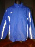 Nike Men's Blue /  White Stripes Full Zip Windbreaker Jacket Zip Pockets Medium