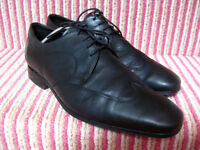 Mens M&S AUTOGRAPH black fine leather BROGUES SHOES UK 10 wide fit hipster